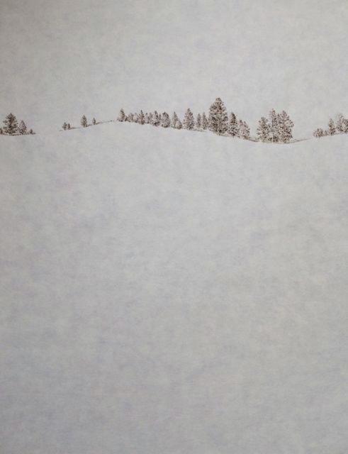 "John Saurer    Spruce Hill   Branded Paper Drawing, Thai Mulberry Paper  30"" x 22""  CJS0023"