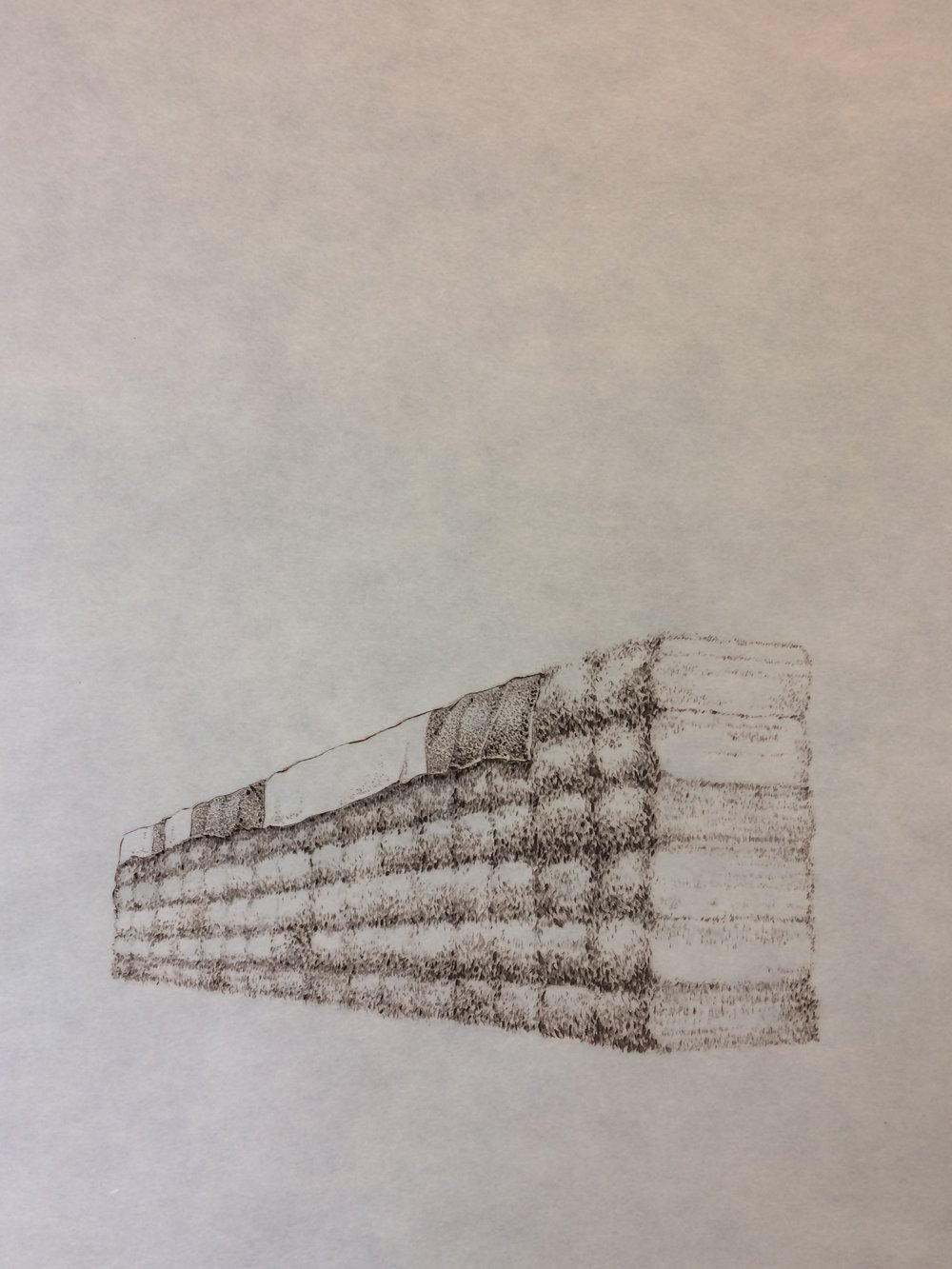 "John Saurer    Hay Bales II   Branded Paper Drawing, Thai Mulberry Paper  30"" x 22""  CJS0030"