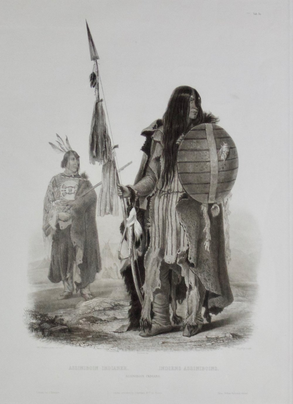 "Karl Bodmer    Assiniboine Indians , 1839  Mezzotint, Etching and Stipel Engraving, Tableau 32  Framed 33"" x 26.5""  BV0475"