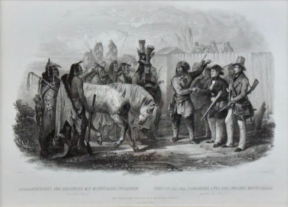 "Karl Bodmer   The Travellers Meeting with Minatarre Indians, Near Fort Clark, 1839  1st State, German and French Edition, pg. 302  Framed 18.5"" x 22.5""  BV0799"