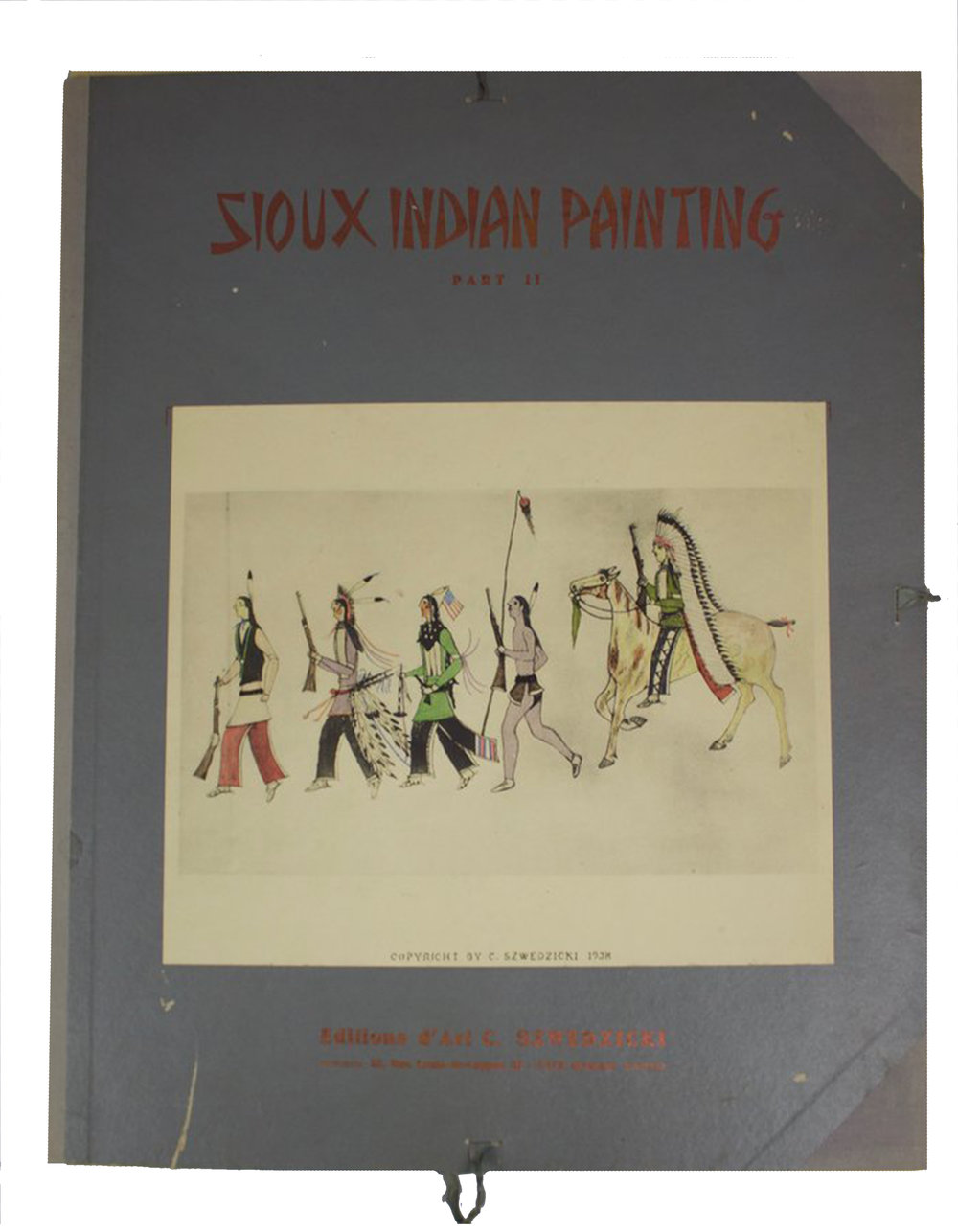 Sioux Indian Painting     Amos Bad Heart Bull   Printed in 1938 in Nice, France, 25 Images  Intro and Notes by H.B. Alexander, Publisher C. Szwedsicki  DV0075 // BV0770