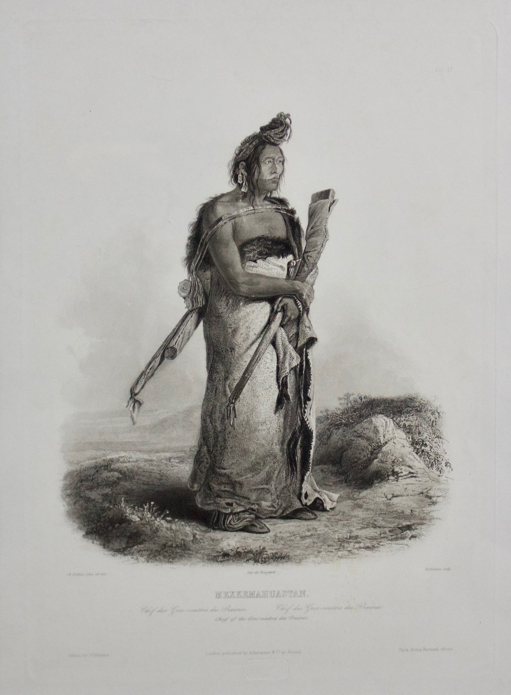 "Karl Bodmer    Chief of the Gros Ventre des Prairies: Mexkemahuastan , 1839  Aquatint, Etching, Roulette and Engraving  Vingette XX  1st State  21.25"" x 17.75""  BV0813"