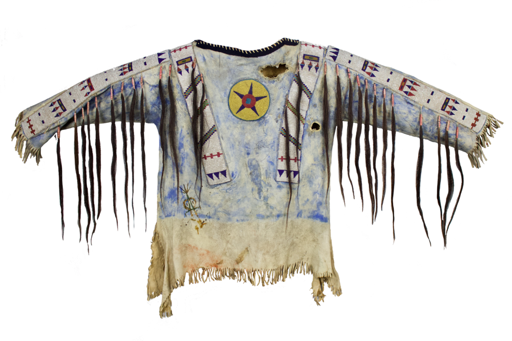 Blackfoot War Shirt   c. 1870's  Natural Pigment, Seed Beads, Horse Hair, Native Tanned Hide and Trade Cloth  CGL0040