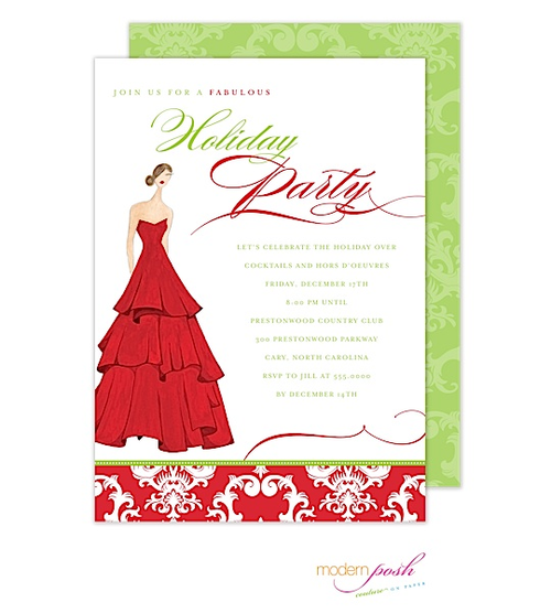 If you're planning a more traditional party with the classic red and green, this invitation is for you! We love using this invitation for a formal girls night holiday dinner party.