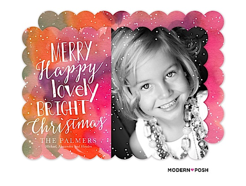 Holiday photo cards modern posh we love using non traditional colors with festive greetings isnt this bright and colorful card so stunning this card works especially well with black and m4hsunfo