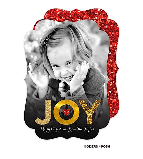 "It's all about the GLITTER! We love complimenting the great photography you choose for your card with a beautifully designed message like this glitter ""JOY"". Your photo is the star of the card! You'll love the fun and festive red glitter back to this card."