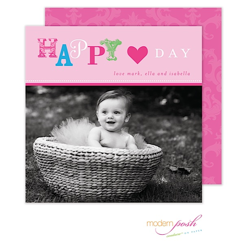 We LOVE square cards! They are such a fun option if you're looking to send a unique card. This pink beauty is a perfect girly option for your little lady. The subtle back design compliments the playful design elements the work oh-so well with the photo.