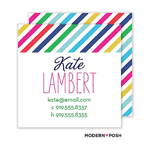 Modern Posh has some really fun and personalized gifts for Mom. Why not choose a few coordinating products in a fun matching pattern? We've chosen our Rainbow Posh design to match with the fun bright colors of the Mother's Day party featured.   Mom's love to have our calling cards on hand to share with other mamas. So helpful and totally cute!