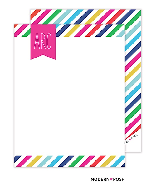 These flat note cards are double the fun because the stripy pattern repeats on the back! These flat note cards are personalized with your monogram and give a great space for telling your loved ones you care!