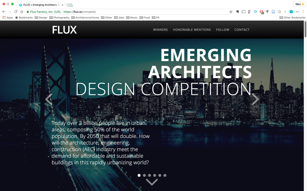Main landing page incorporates competition description,  as well as full page slideshow of the winning projects.