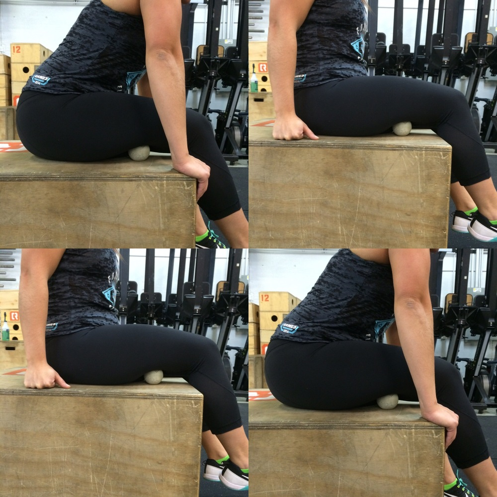 Sit your bum down on your Rogue box or kitchen chair with your lacrosse ball under your thigh. It will take a couple of adjustments but find a sweet spot right in the thick of it. You are looking for your  s  emimembranosus and semitendinosus.  While keeping your spine totally straight hinge from your hips to lean forward. As you can see from the badass athlete above, her low back is never compromised when leaning forward. Strive to look literally just like her, well at least your spinal positioning. Keep this dynamic. Hinge back and forth 40-50x or for 3-4 minutes before switching sides.