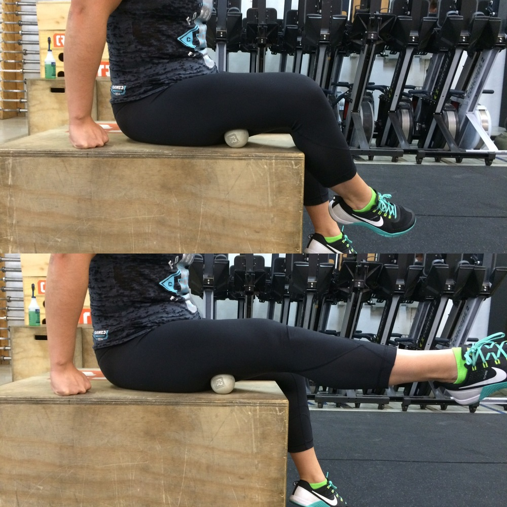 Still sitting on your bum, slide the lax ball out towards the side a bit more, but not all the way to your IT band. You should now be more on your  bicep femoris . Keep that super straight spine you created in the first exercise and begin to extend your leg straight and then back to a bent knee. Repeat the extension and flexion 40-50 times before switching sides.