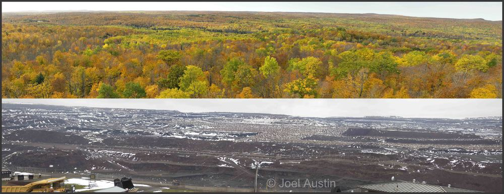 Top:  View of the Penokees  Bottom:  View of part of the Hull Rust-Mahoning open pit taconite (iron) mine near Hibbing, Minnesota.    Which view would you choose?