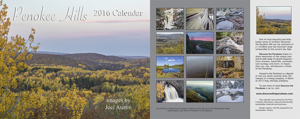 Penokee Hills 2016 Calendar front and back