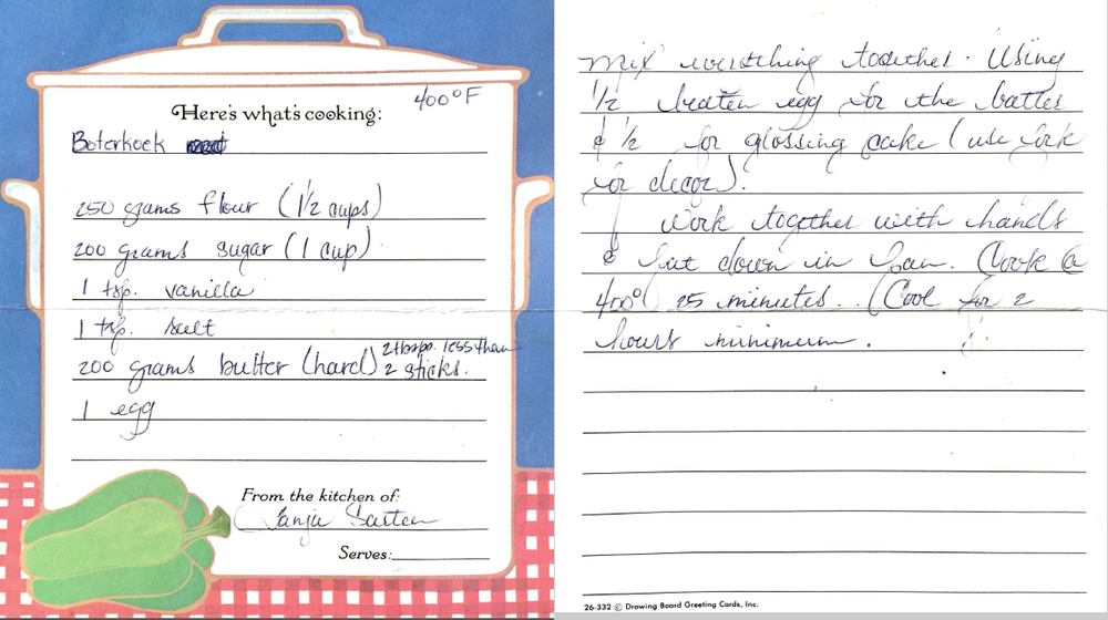 Boterkoek recipe  from my friend, Tanja Sarten (née Buitenkamp),  transcribed in my early 20s .
