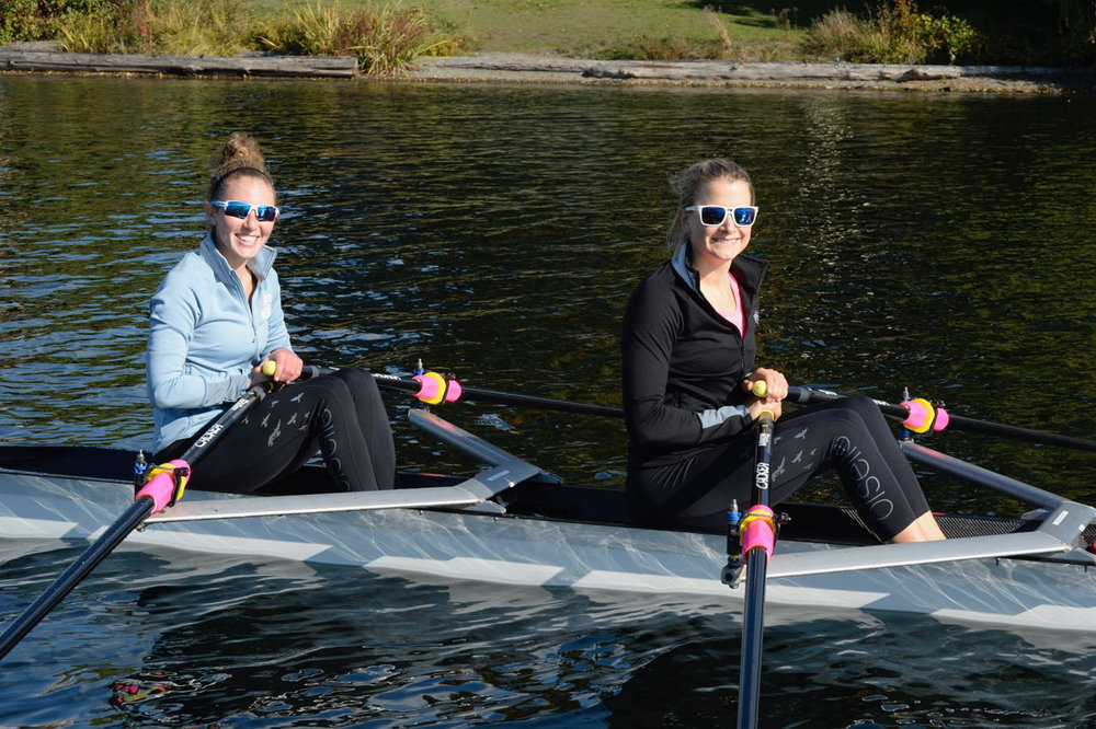 Keara Twist, left, and Sydney Taylor, right, during a practice row in Seattle. Photo: Michael Collins for Oiselle.