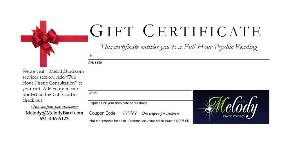 Full Hour Consultation Gift Certificate  Gift Certificate Samples
