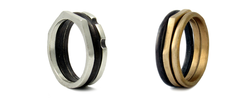 handcrafted mens stackable rings
