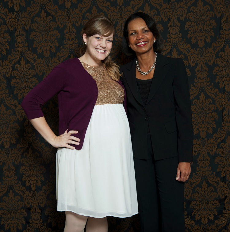 Me at 40 weeks, 2 days with Condoleezza Rice (FHU Benefit Dinner speaker.)