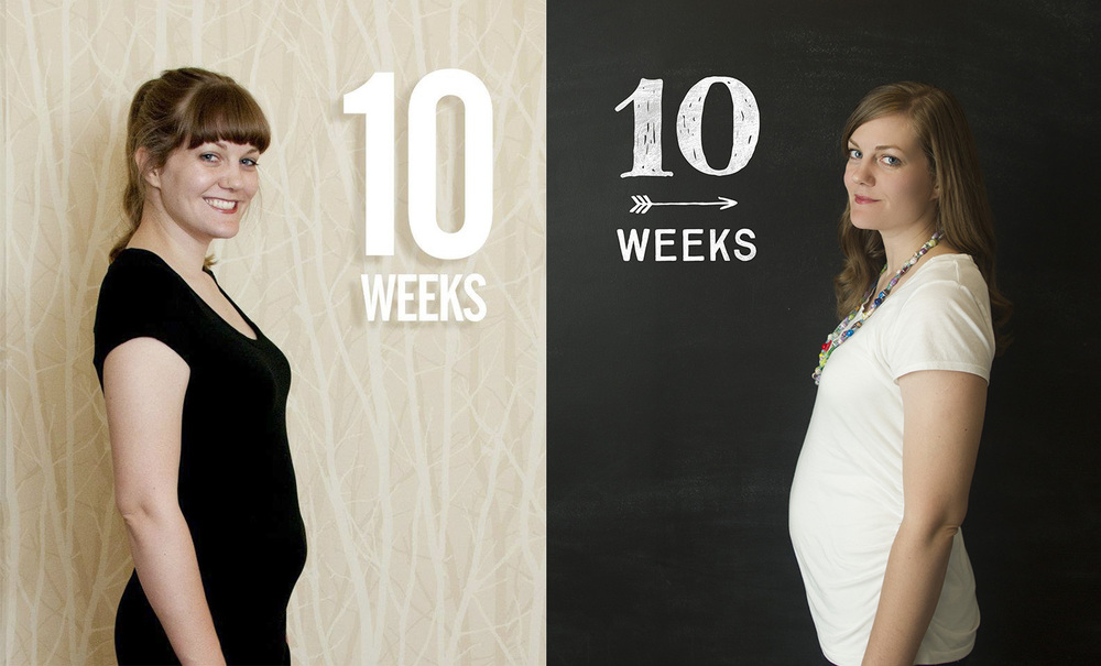 Definitely more of a flabby stomach with Miles at that point and more of an actual bump with #2!