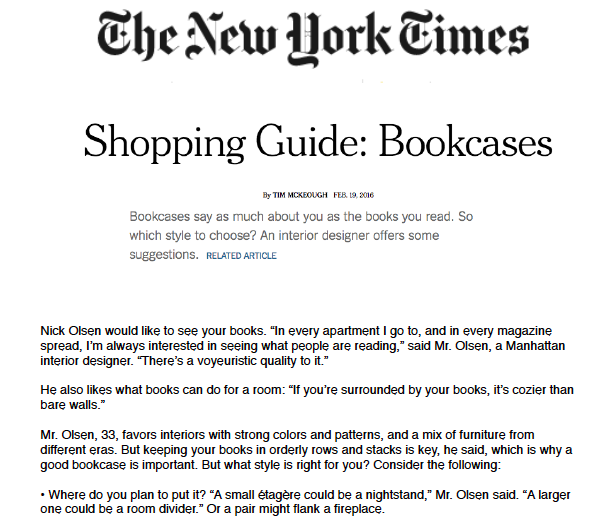 New York Times - Shopping Guide: BookcasesFebruary 2016
