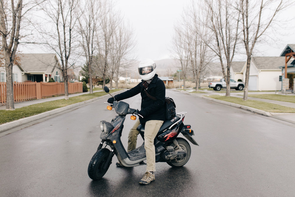 Bryce Dana's sole form of transportation around Missoula is his gas-powered Yamaha scooter. He said it's top speed is 40 mph but he once got it to 50 when going downhill. When Dana has bread with him and it's raining he said the bread gets wet, but he just puts it in the oven when he gets home and eats it anyway.