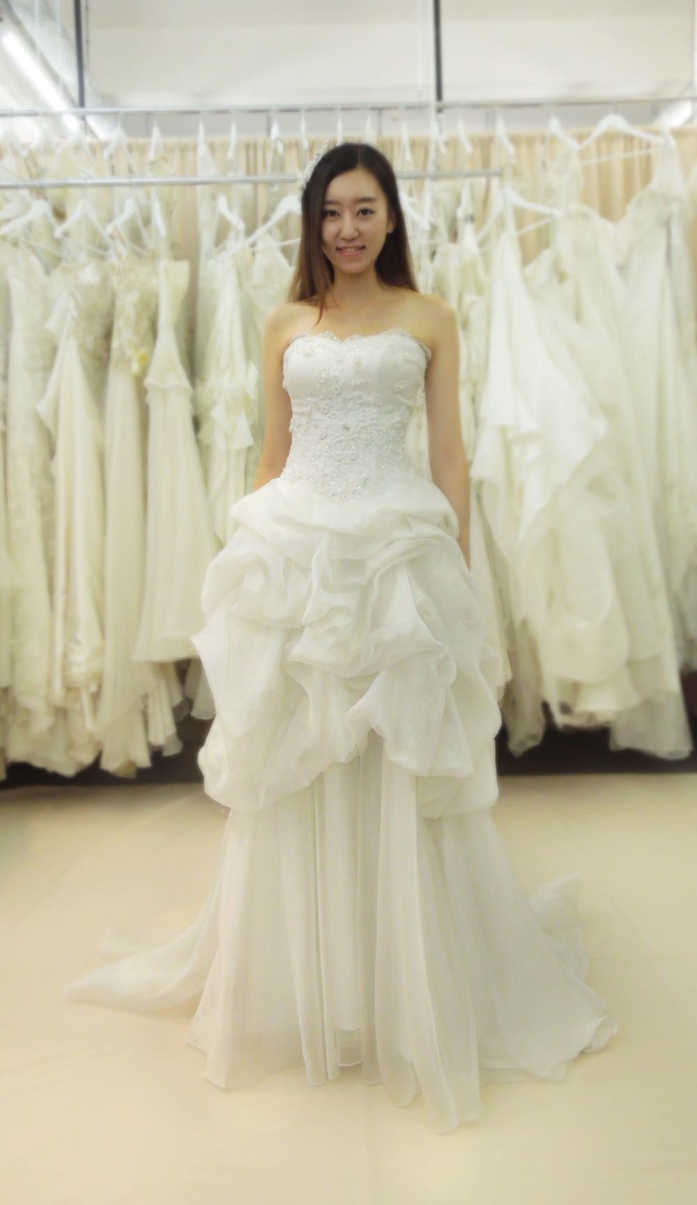 white bubble wedding dress