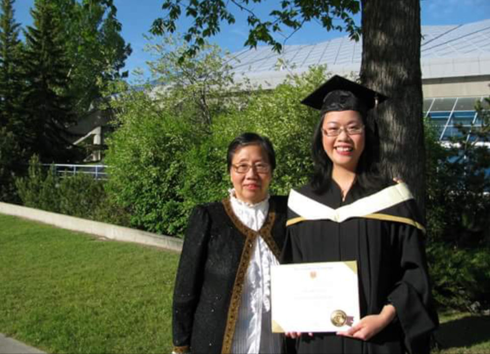 Margaret and her mom at her graduation.