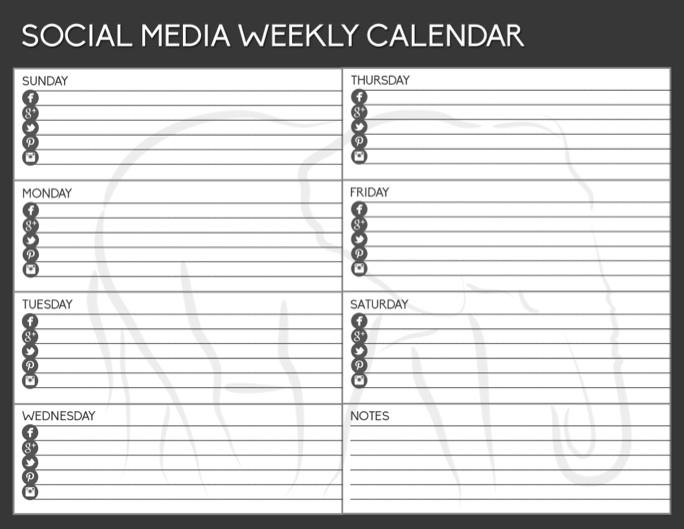 Weekly Social Calendar