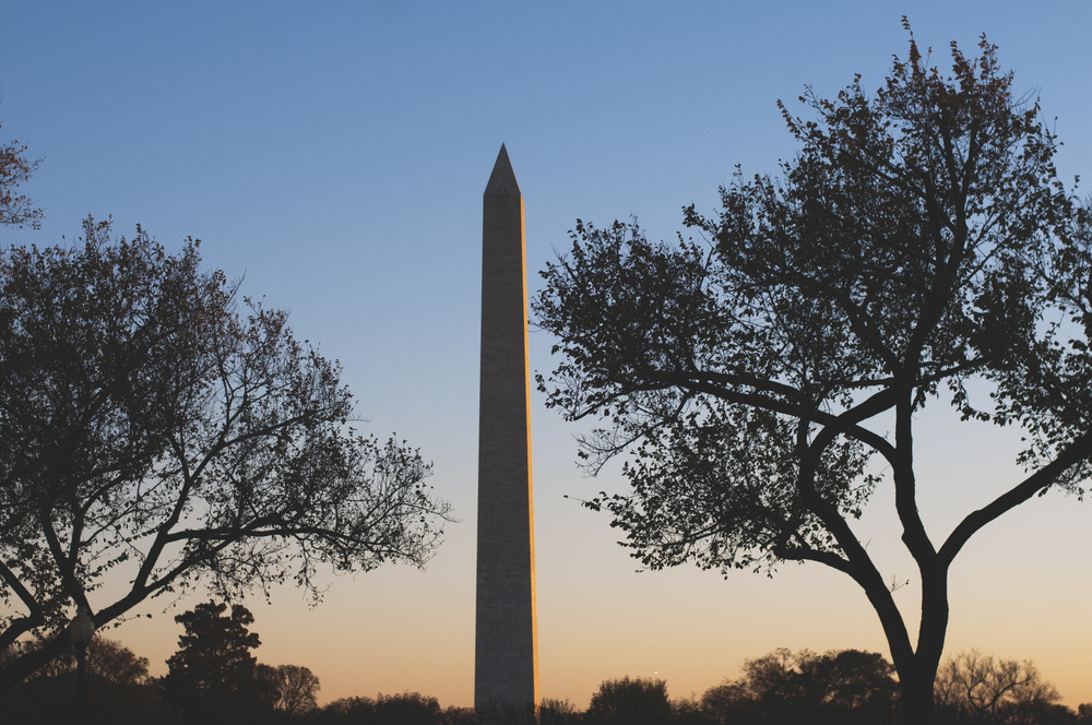 The Washington Monument at sunset.