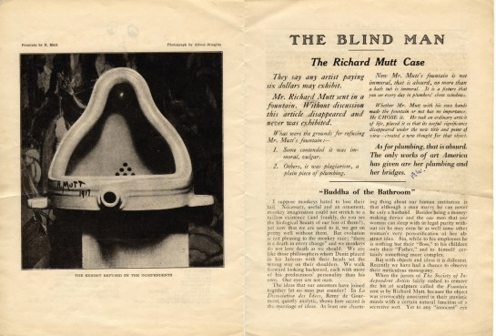 "Marcel Duchamp ""Fountain"" (1917)  Source: https://events.nyu.edu/#!view/event/event_id/192730"