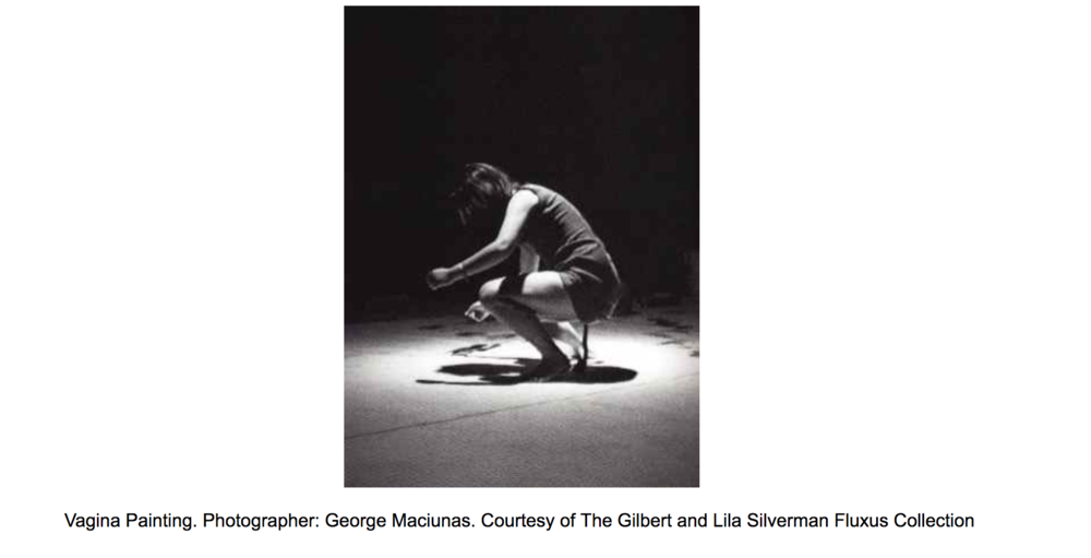 Shigeko Kubota's Vagina Painting (1965) was a performance in which she crouched over a large sheet of paper on the floor and painted with a red-daubed paintbrush attached to her knickers.   Her video art on EAI website:  https://www.eai.org/artists/shigeko-kubota/titles