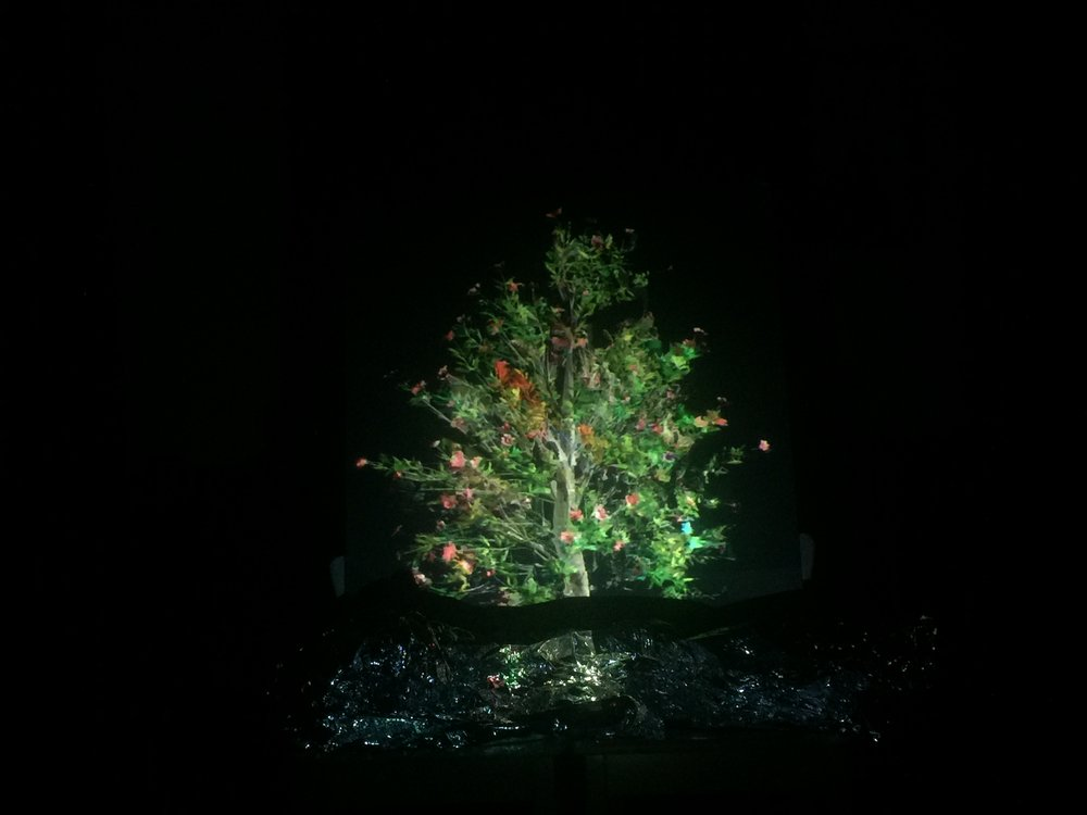 "datamoshed tree with mylar ""river"""