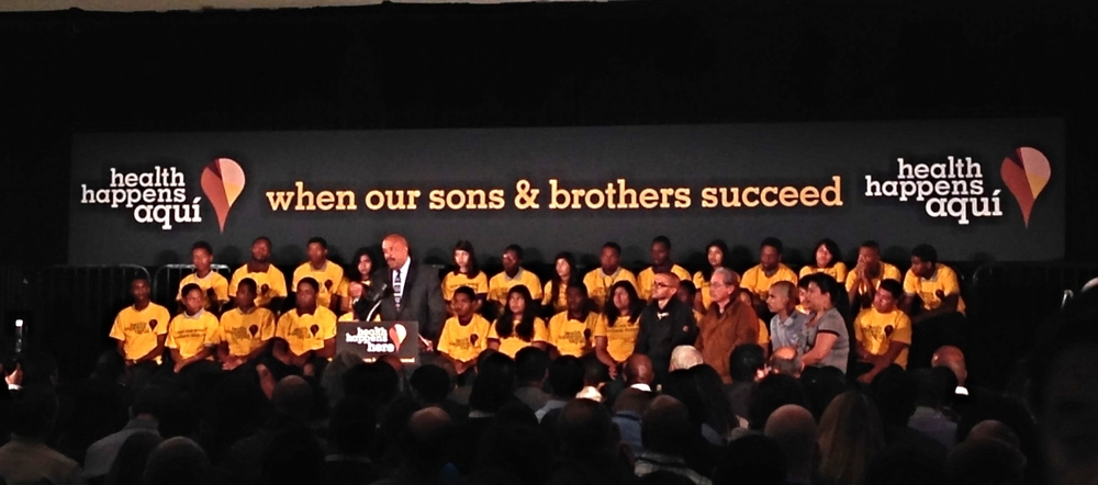 Dr. Robert K. Ross announces The California Endowment's $50 million commitment to supporting boys and men of color.
