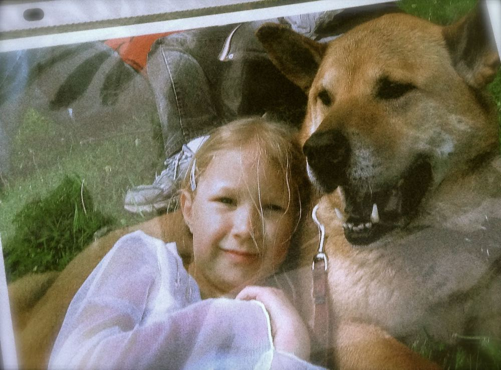 "10 year old Skylar with her beloved ""Boo Bear"", a picture from when she was younger."