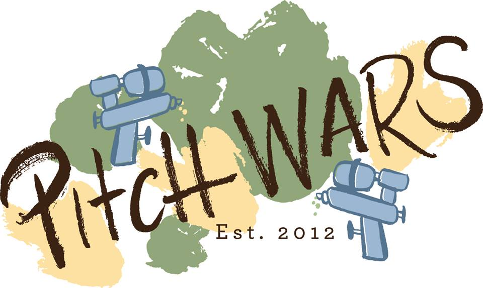 Image: Pitch Wars logo with water guns.
