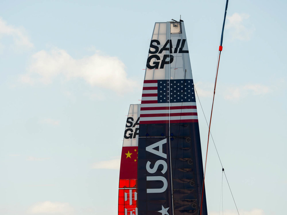 USA Waits for the Crane after a straining session - I am a little bit worried about the forecasted light winds on the Sail GP race days starting on Valentines Day Sydney Harbour 2019
