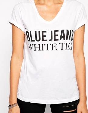ASOS  ASOS T-shirt with V Neck and Blue Jeans White Tee Print $27   www.asos.com