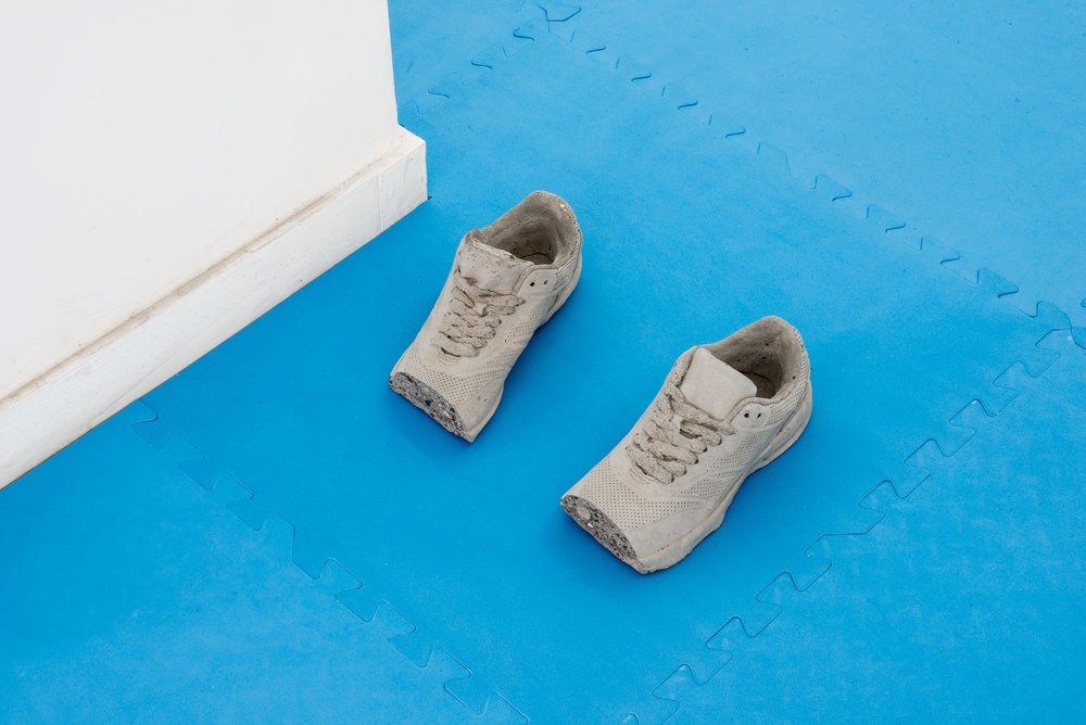 At The Edge of The Frame, 2017  (series of 10 unique) Polished Concrete Dimensions variable, shoe to scale women's uk size 6.5 -a-