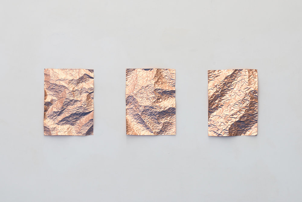 Pelt, 2017  (triptych) Embossed Copper Each 30 x 40 cm ---