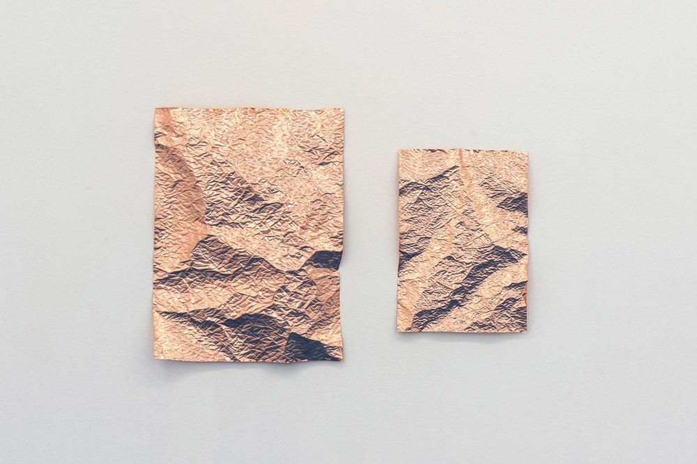 Pelt, 2017  (Diptych #1) Embossed copper 40 x 30 &28,5 x 20 cm ---