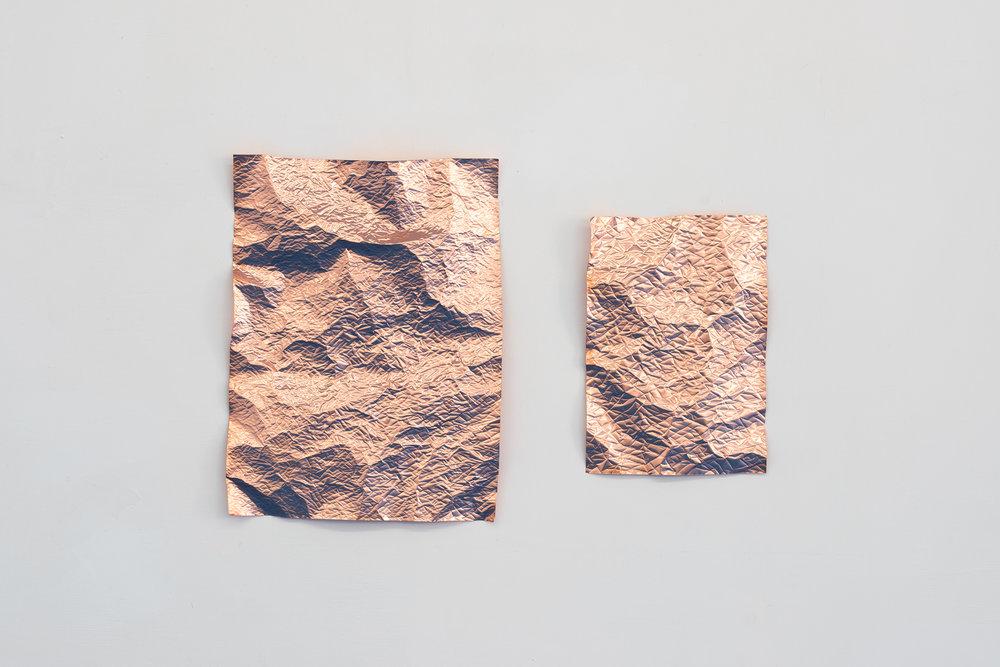 Pelt, 2017  (Diptych #2) Embossed copper 40 x 30 &28,5 x 20 cm ---