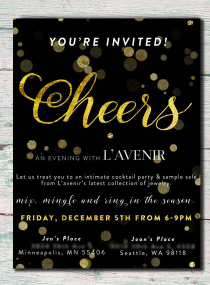 Holiday invite for L'avenir sample sale and cocktail hour by Kate & Design