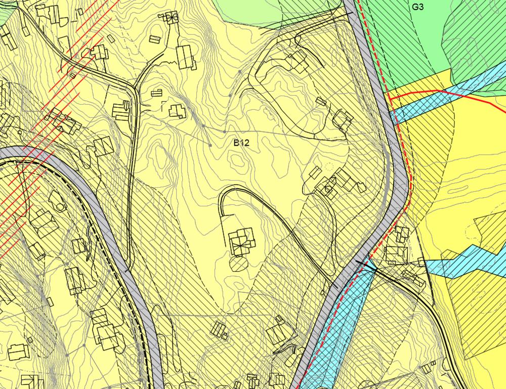 Utsnitt av dagens gjeldende kommunedelplan for Båtstø
