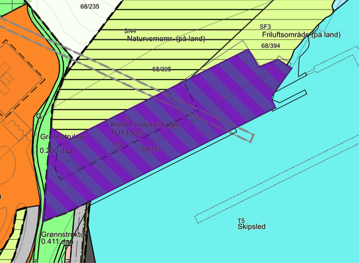 Området er regulert til Kontor/Industri/Lager (lilla)