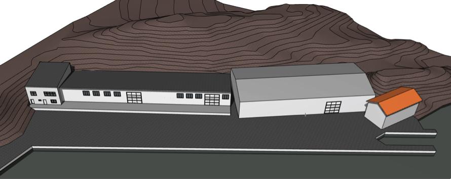 Illustrasjoner som viser fugleperspektiv over eiendommen. Den store plasthallen ligger til høyre med den lille boden utenfor der igjen. Eksisterende boder /kontorer ligger i bebyggelsen til venstre.