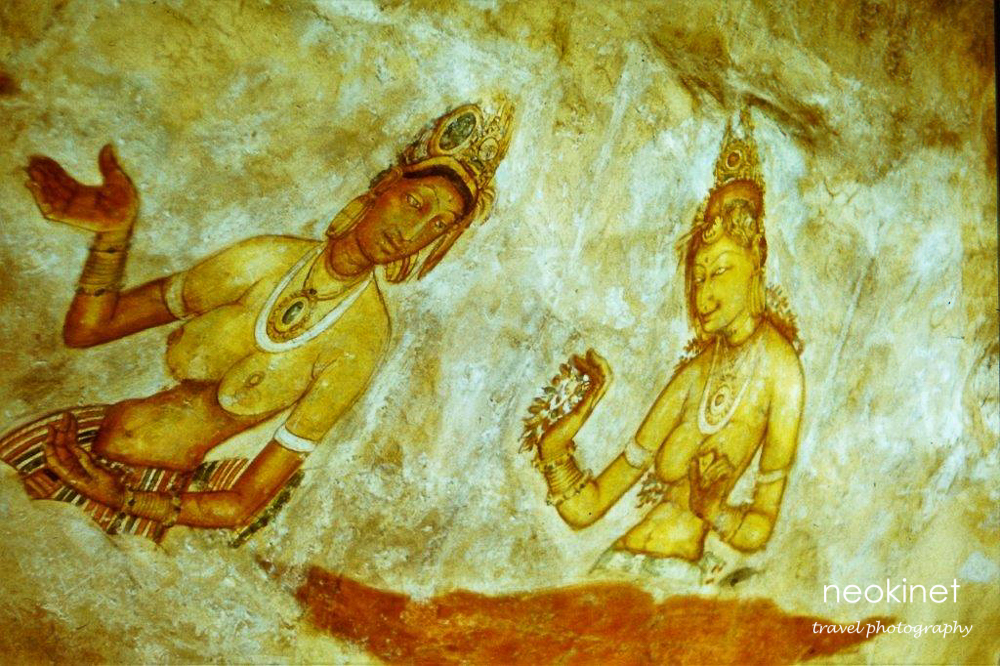 Frescoes of the dancers, Sigiriya. | Photographed by my father in 1974