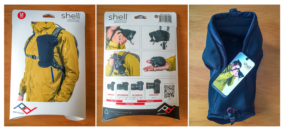 Peak Design Shell comes in nice package with size guide and quick usage tips.