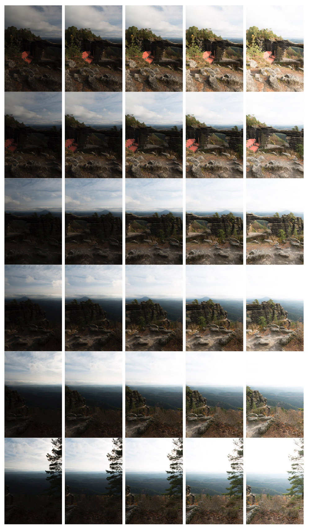 30 photos takes for postprocess stitching into HDR and panorama