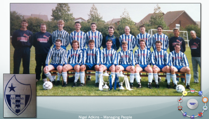 Early talent: : Sunday League side, Renbad Rovers, pictured after winning Division 1 and the Cup in the same season. It was Adkins's (back row far left) first venture into football management